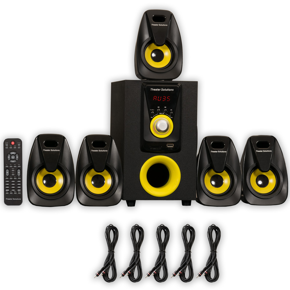 Theater Solutions TS522 Home Theater 5.1 Speaker System Powered and 5 Extension Cables
