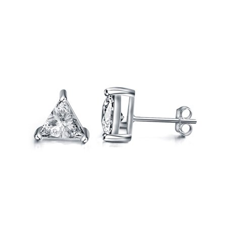 Gold Plated Sterling Silver 3 Prong Triangle Shape Cubic Zirconia Stud Earrings