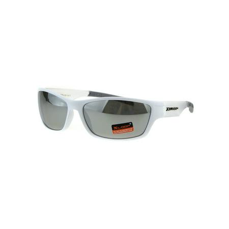 Xloop Mens Classic 90s Mirror Lens Plastic Biker Sport Sunglasses White Clear (Mirror Ignitor Clear Lens)