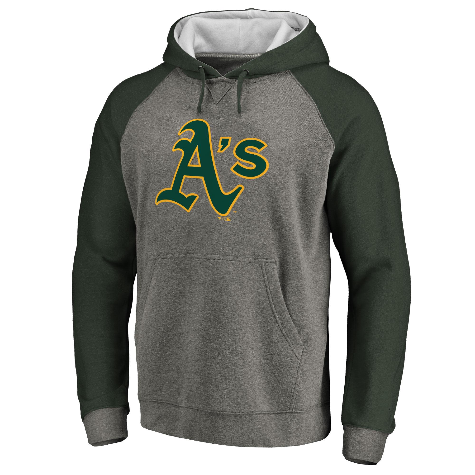 Oakland Athletics Primary Logo Raglan Sleeve Tri-Blend Pullover Hoodie - Ash