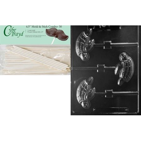 - Cybrtrayd 45St50-A141 Sea Turtle Lolly Animal Chocolate Candy Mold with 50 4.5-Inch Lollipop Sticks