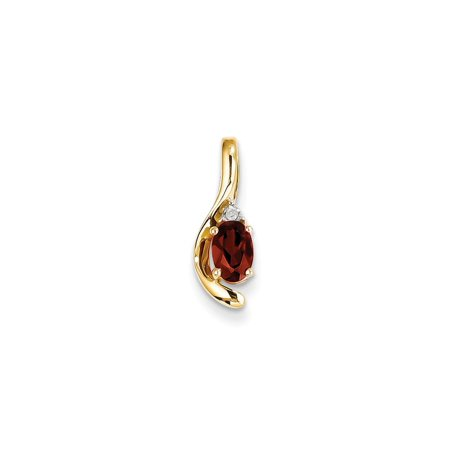 14k Yellow Gold Diamond Red Garnet Pendant Charm Necklace Gemstone Birthstone January Set Style Fine Jewelry For Women Gift Set