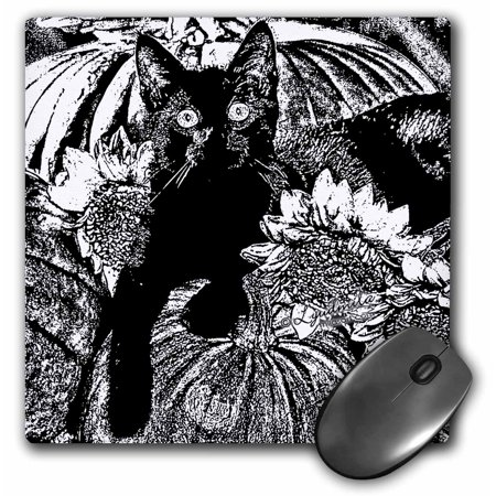 The Office Halloween Andy Cat (3dRose Black and White Halloween Cat, Mouse Pad, 8 by 8)