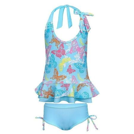 Sun Emporium Little Girls Pink Butterfly Garden Frill Tankini Boyleg Set