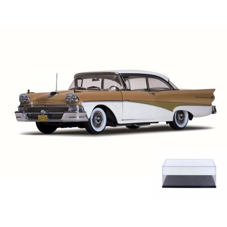 Diecast Car & Display Case Package - 1958 Ford Fairlane 500 Hard Top, White/Palomino Tan - Sun Star 5284 - 1/18 Scale Diecast Model Toy Car w/Display Case (Spongebob Tan Scale)