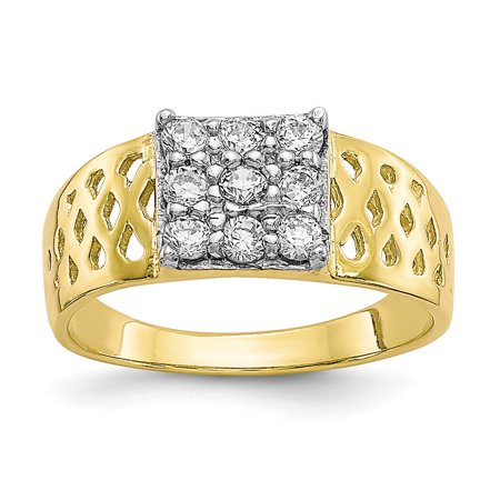 10k Yellow Gold Textured Polished Cubic Zirconia for boys or girls Ring - Rings For Boys