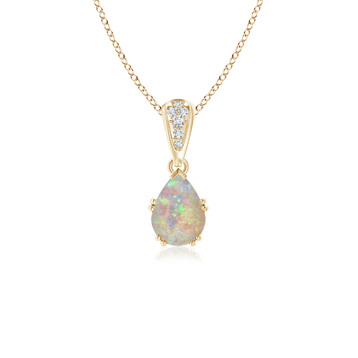 October Birthstone Pendant Necklaces Vintage Pear Shaped Opal Necklace with Diamond Accents in 14K Yellow Gold (7x5mm... by Angara.com