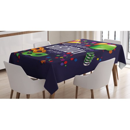 Birthday Decorations Tablecloth, Colorful Balloons Curling Ribbons Carnival Mask Party Hat and Confetti, Rectangular Table Cover for Dining Room Kitchen, 52 X 70 Inches, Multicolor, by - Carnival Themed Table Decorations