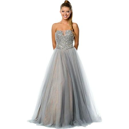 152ddc2e8eb Terani Couture - Terani Couture Illusion Strapless Formal Dress -  Walmart.com