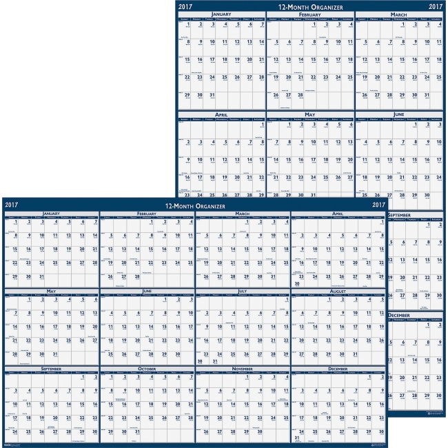 "House of Doolittle Dated 66"" Laminated Wall Planner - Julian - Monthly - 1 Year - January 2018 till December 2018 - 66"" x 33"" - Wall Mountable - Blue, Gray - Paper - Laminated"