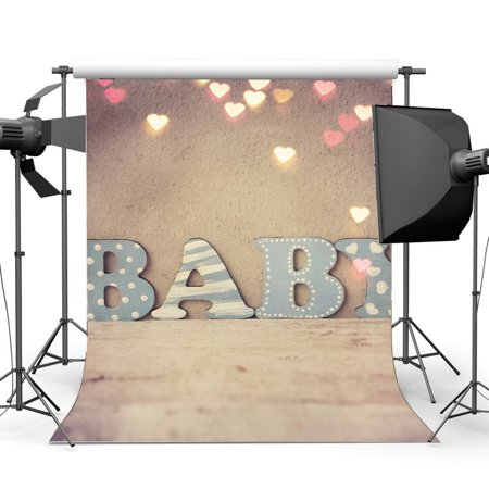 GreenDecor Polyster 5x7ft Baby Shower Backdrop Valentine's Day Bokeh Glitter Sweet Hearts Concrete Wall Romantic Wedding Photography Background Girls Boys Happy First Birthday Party Photo Studio Props - Baby Shower Backdrops