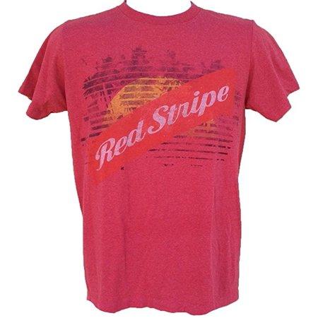 Red Stripe Distressed Logo Men's T Shirt (Small)