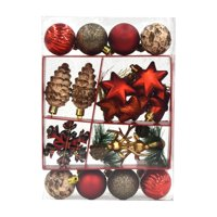 Holiday Time Mini Ornament Set, Red, Brown, & Gold