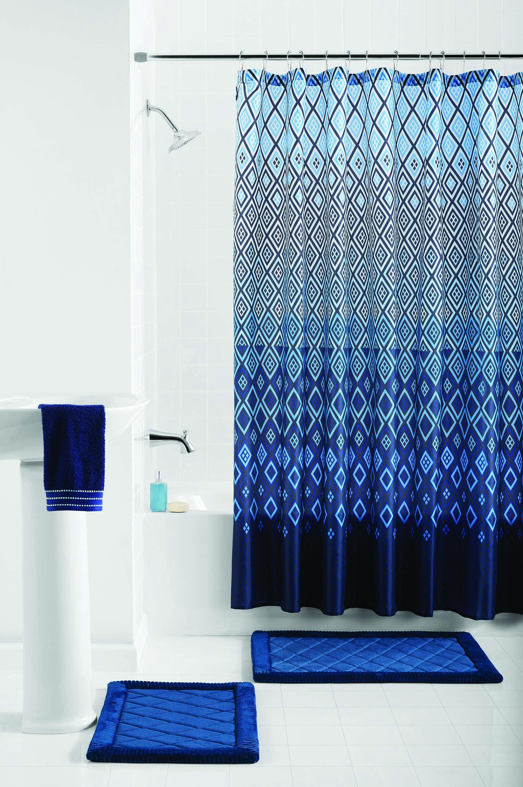 Mainstays Stockholm Geometric 15 Piece Shower Curtain Bath Set Walmart Com Walmart Com