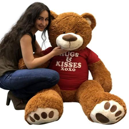 Free Bear Hugs (Big Plush 5 Foot Giant Teddy Bear 60 Inches Soft Cinnamon Brown Color Wears HUGS AND KISSES)
