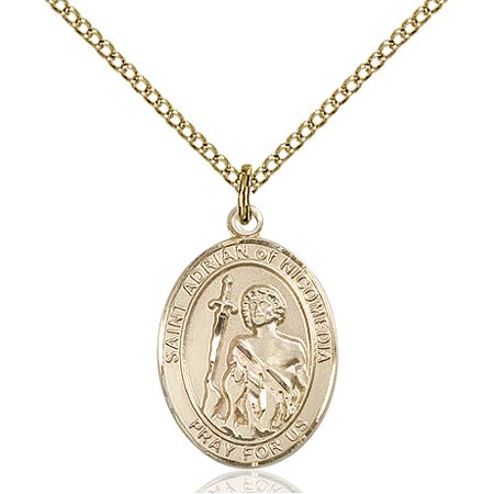 Gold Filled St. Adrian of Nicomedia Pendant 3/4 x 1/2 inches with Gold Filled Lite Curb (Adriana Pendant)