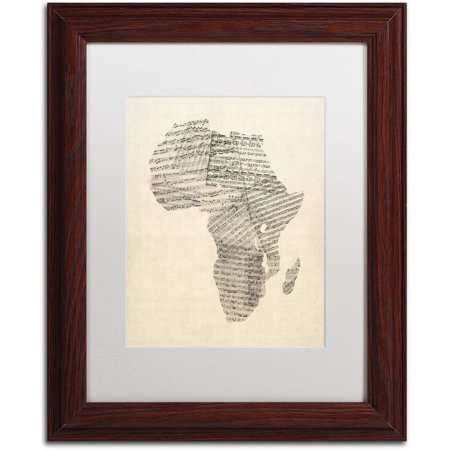 - Trademark Fine Art 'Old Sheet Music Map of Africa' Canvas Art by Michael Tompsett, White Matte, Wood Frame