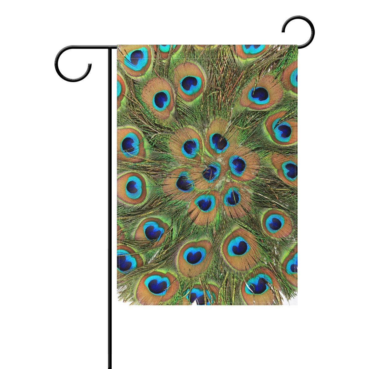 POPCreation Old Round Peacock Garden Flag Bird Feather Mandala Outdoor Home Party 12x18 inches