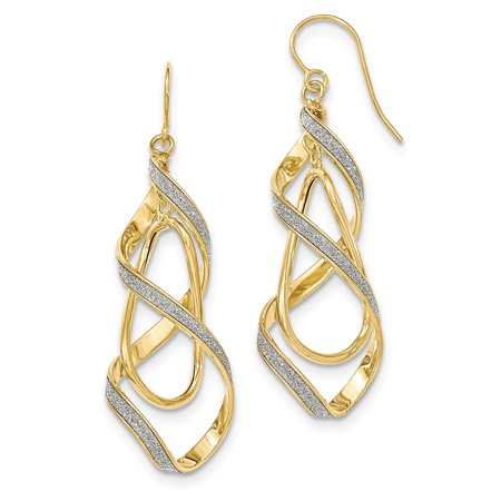 - 14k Yellow Gold Polished Glitter Infused Spiral Dangle Earrings (2.2IN Long x 0.6IN Wide)