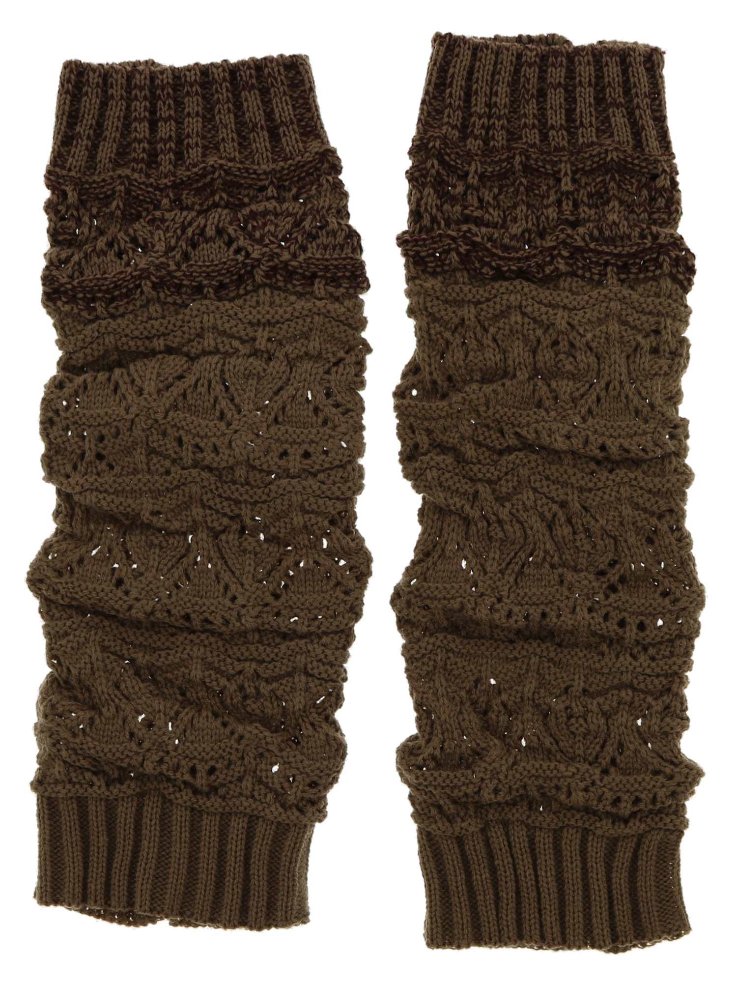 Violet & Virtue Women's Two-Toned Ribbed Cuff Leg Warmer (Brown)