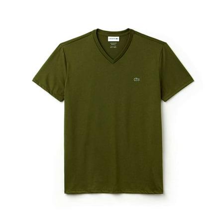 Lacoste Men Standard Short Sleeve Pima V-Neck Tee