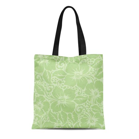 ASHLEIGH Canvas Tote Bag Green Pattern Tropical Hawaiian Hibiscus Floral Flower Vintage Lime Durable Reusable Shopping Shoulder Grocery (Tropical Smoothie Cafe Nutrition Detox Island Green)