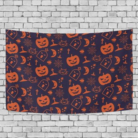 MYPOP Blue And Orange Halloween Tapestry Wall Hanging Decoration Home Decor Living Room Dorm 60 x 40 inches](Dorm Door Decorations Halloween)