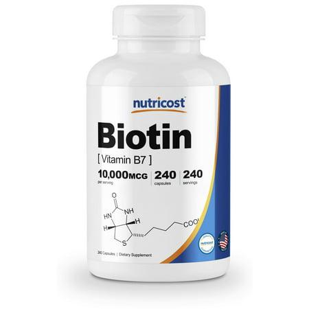 Biotic Capsules (Nutricost Biotin (Vitamin B7) 10,000mcg (10mg), 240 Capsules )