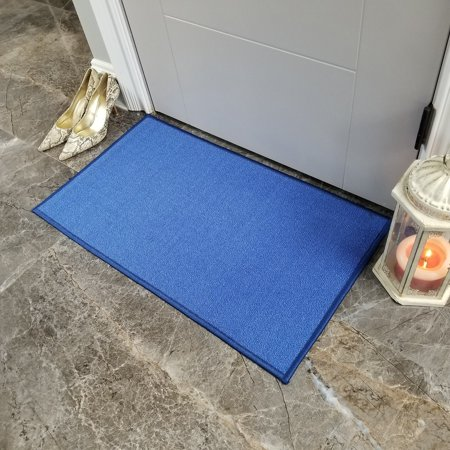 Maxy Home Hamam Solid Blue 1 ft. 6 in. x 2 ft. 7 in. Rubber Backed Door Mat - multi - 1'6
