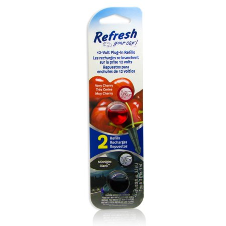 Capsule Refill - Refresh 12v Car Plug-in Air Freshener with Scent Capsules (Very Cherry & Midnight Black Refills)