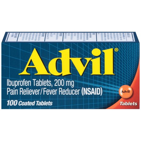 Advil Pain Reliever/Fever Reducer Ibuprofen Coated Tablets, 200 mg, 100