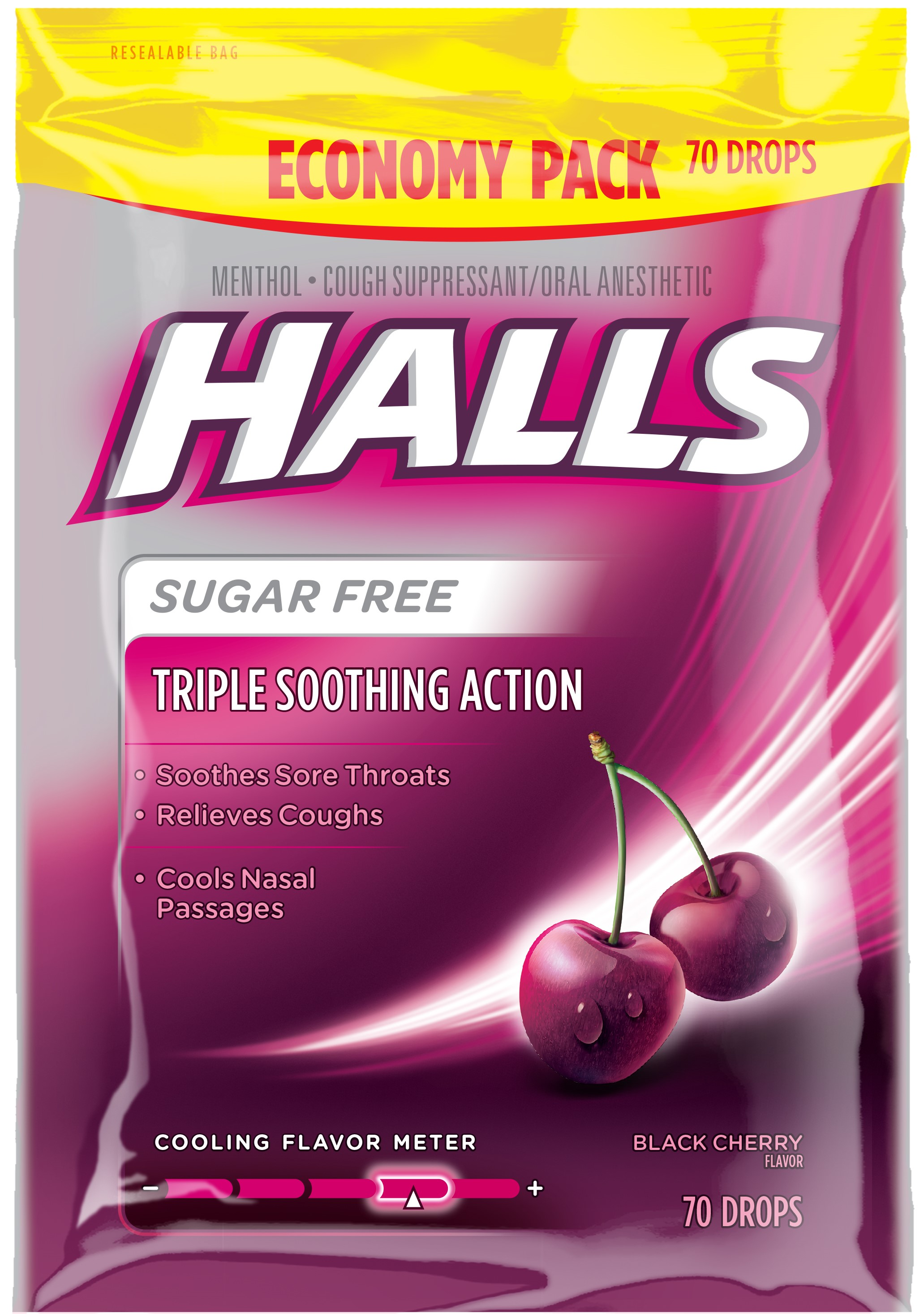 Hall Sugar Free Cough Drops, Black Cherry, 70 Ct