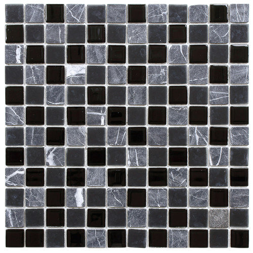 EliteTile Chroma 11-1/2'' x 11-1/2'' Square Glass and Stone Mosaic Wall Tile in  Ligoria