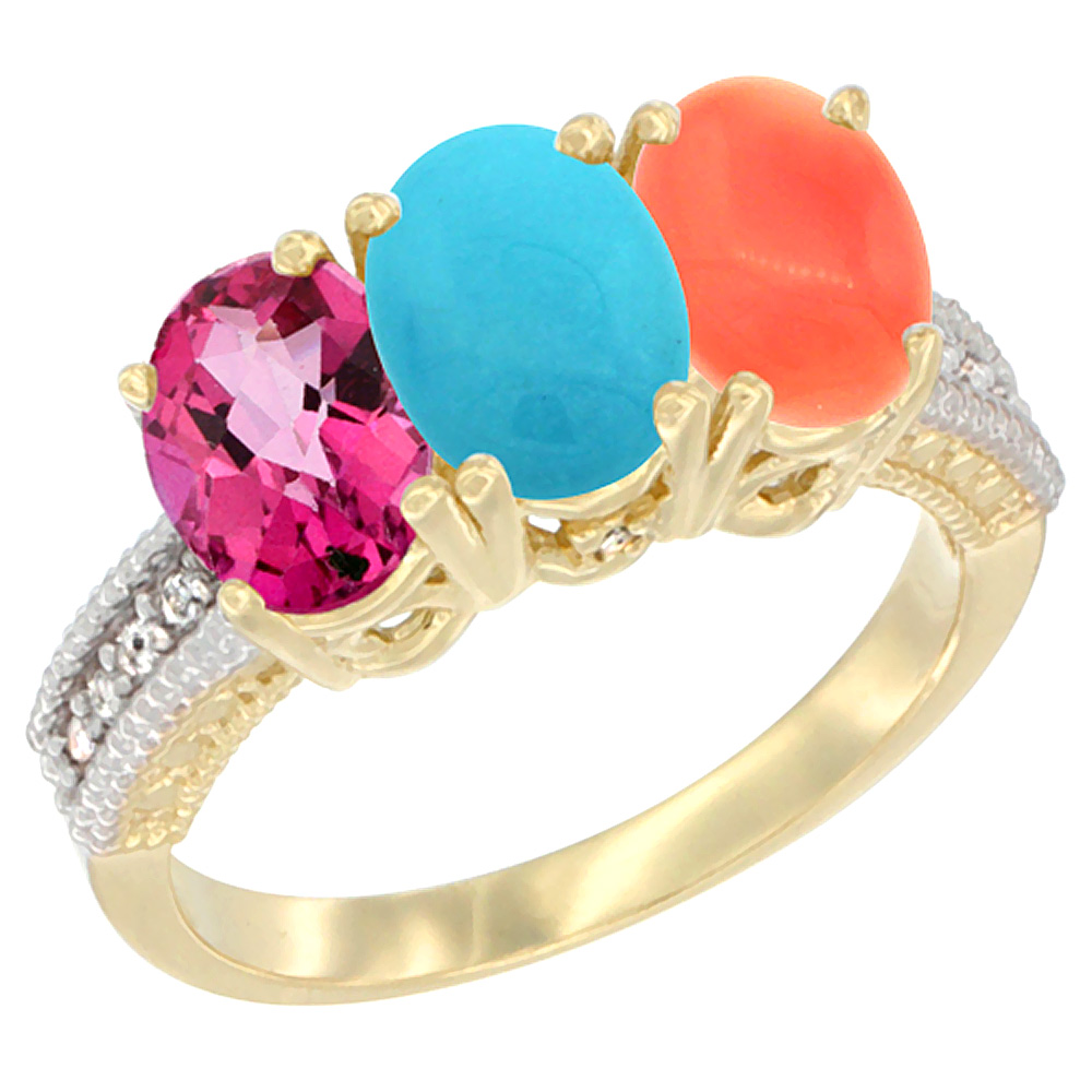 14K Yellow Gold Natural Pink Topaz, Turquoise & Coral Ring 3-Stone 7x5 mm Oval Diamond Accent, sizes 5 10 by WorldJewels