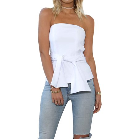 02c8a9bddf9e Nlife - Nlife Women's Cold Shoulder Tie Front Zipper Back Blouse ...