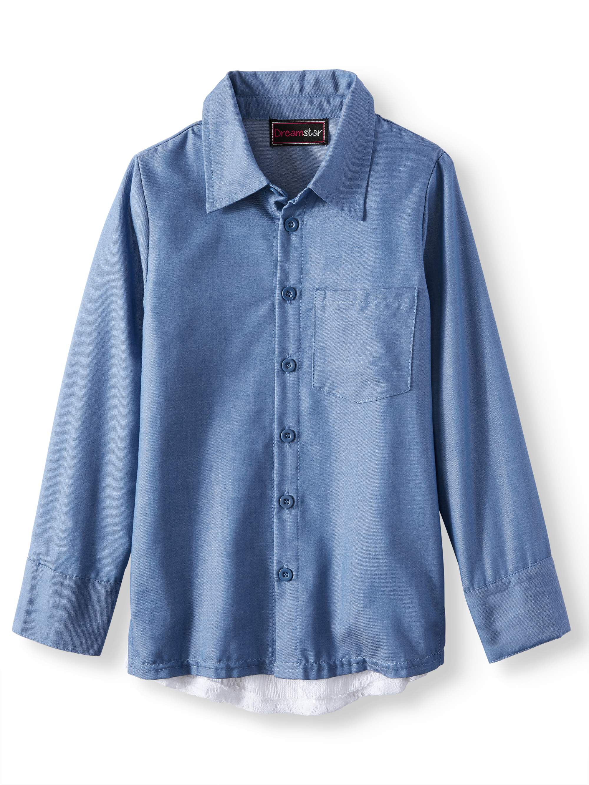 Chambray Long Sleeve Shirt with Lace Back (Little Girls & Big Girls)