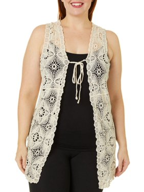 Roommates Juniors Plus Crochet Tie Front Vest