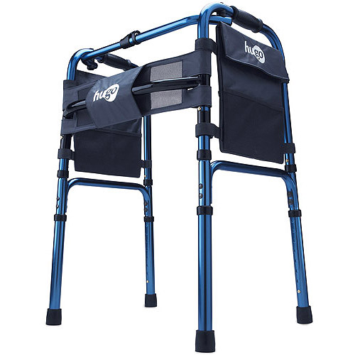 Hugo Adjustable Folding Walker with Bonus 5 Inch Wheels and Plastic Glides, Sapphire Blue