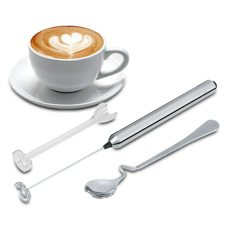 EECOO Handheld Electric Milk Frother Kitchen Stainless Steel Handheld Battery Operated Electric Coffee Milk Frother with Bonus Mix Spoon Whip