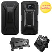 For G920 Galaxy S6 Black Advanced Armor Stand Protector Cover (With Holster)