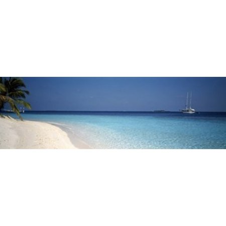 Beach & Boat Scene The Maldives Stretched Canvas - Panoramic Images (36 x 12)
