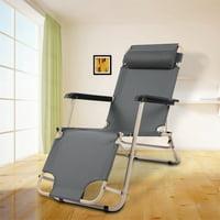 Moksha Folding Beach Lounge Chairs,Round Tube Dual-purpose Folding Chair Dark Grey Reclining Lounge Chair for Leisure,Lounge Chair