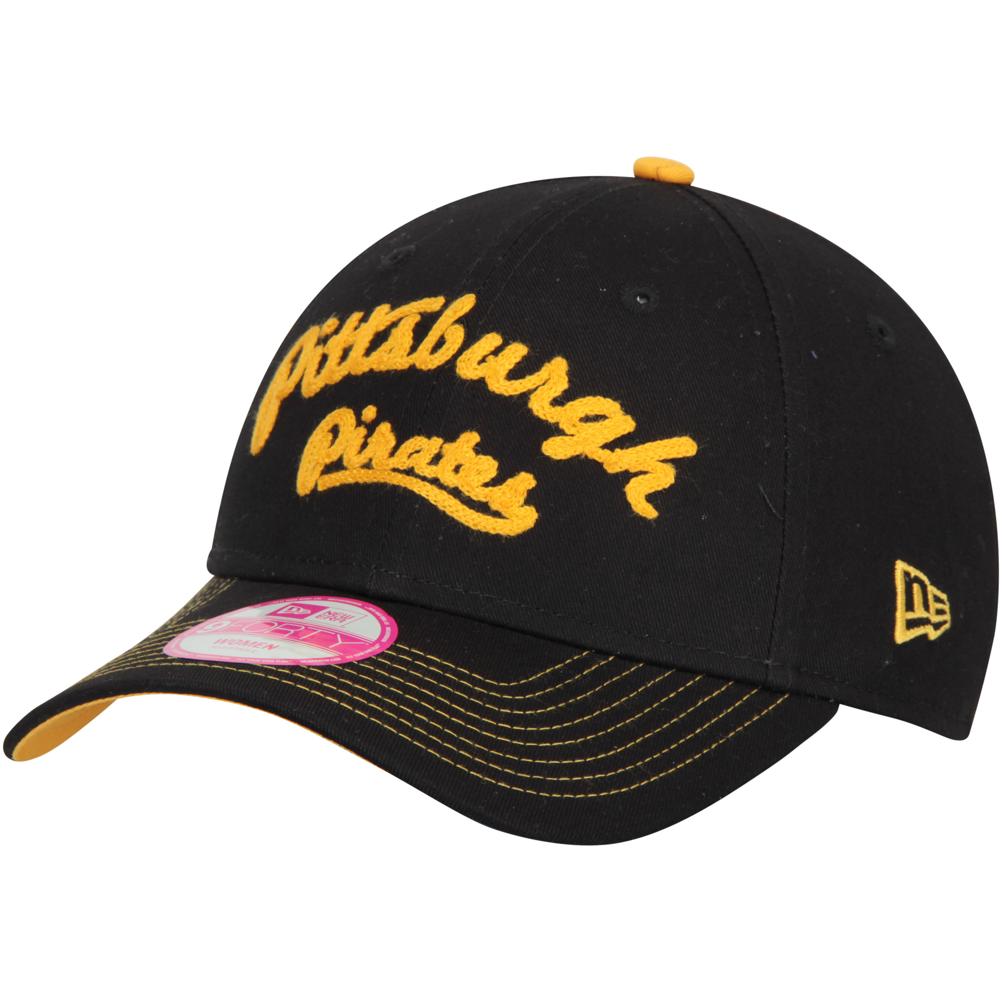 Pittsburgh Pirates New Era Women's Team Stitcher 9FORTY Adjustable Hat - Black - OSFA