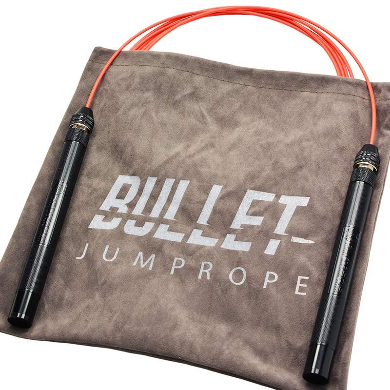 """EliteSRS Bullet Jump Rope - Premium Fitness Skipping Rope - 6.3"""" Anodized Aluminium Handles with Slip-Protect Knurl Grip - Includes Replacement Cable, Grip Tape and Storage (Black Handles/Black Cable)"""