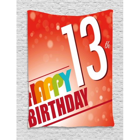 13th Birthday Decorations Tapestry, Retro Style Teenage Party Invitation Graphic Design Bokeh Rays, Wall Hanging for Bedroom Living Room Dorm Decor, 40W X 60L Inches, Multicolor, by - Retro Decorations