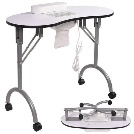 Goplus Folding Portable Vented Manicure Table Nail Desk Salon Spa With Fan White