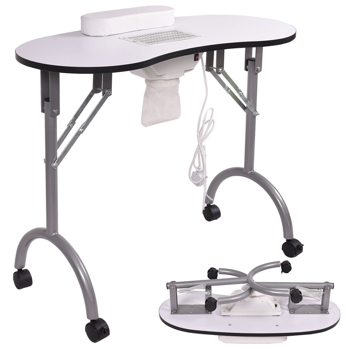 Costway White Folding Portable Vented Manicure Table Nail Desk Salon Spa With Fan &Bag