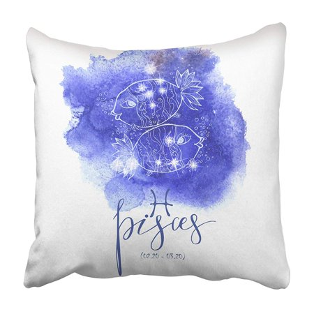 CMFUN Blue Zodiac Astrology Sign Pisces Blue Aqua Astrological Astronomy Beginning Birth Pillowcase 16x16 inch