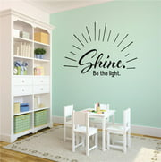 Shine. Be the light Quote Peel & Stick Sticker Vinyl Wall Decal 12x12 Inches