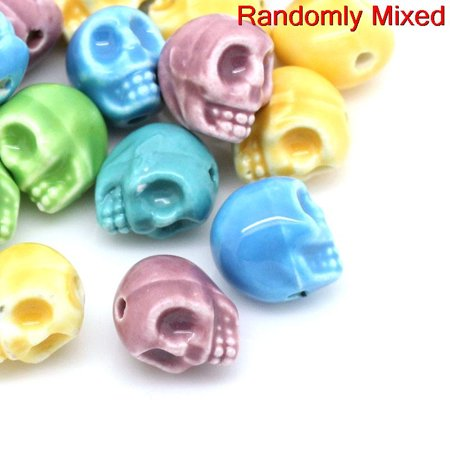 10 Pcs Ceramic Spacer Beads Halloween Skull Assorted Colors 14mm - Braces Spacers Happy Halloween